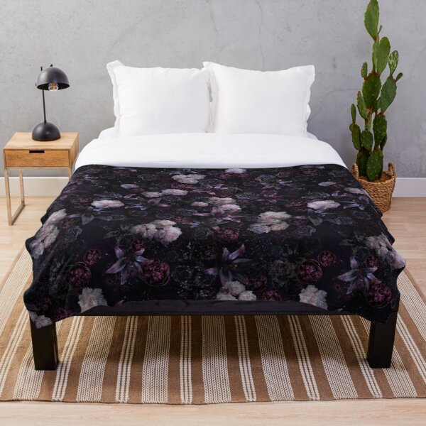 Midsummer Nights Dream #Dark Floral #Midnight #Black #Rose #Night Throw Blanket
