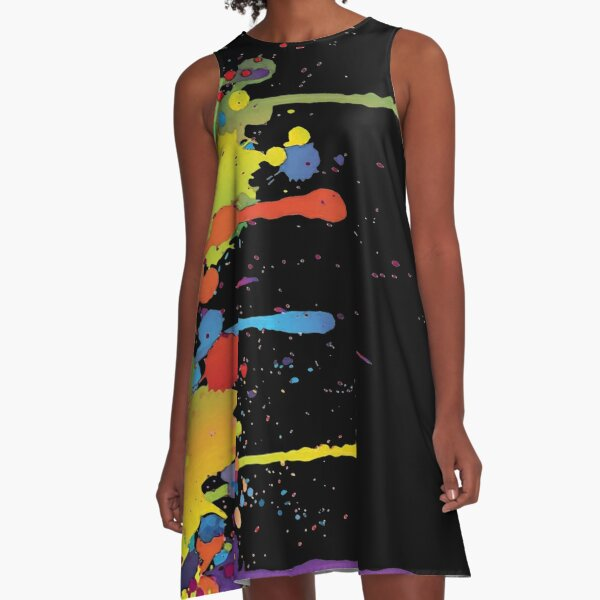 Crazy multicolored running SPLASHES vertical A-Line Dress