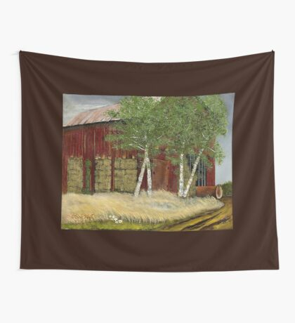 OLD MAN WALKER'S BARN, Acrylic Painting, for prints and products Wall Tapestry