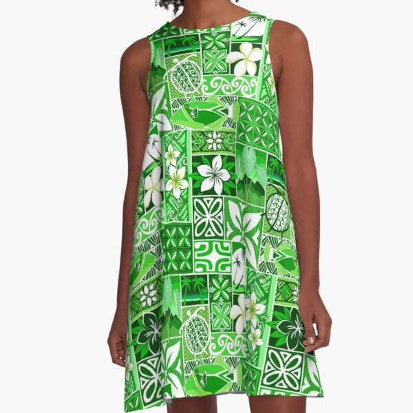 New Hawaiian Motif - green A-Line Dress