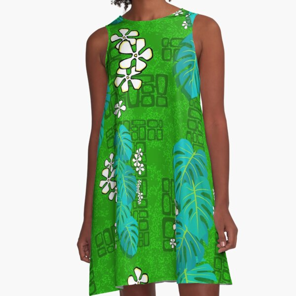 Tiki Garden Wall - green A-Line Dress