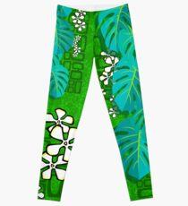 Tiki Garden Wall - green Leggings