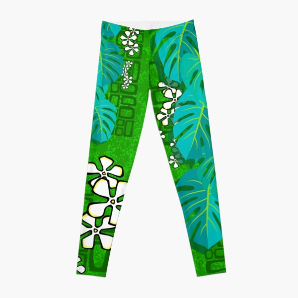 Tiki Garden Wall - green Leggings
