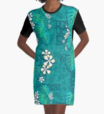 Tiki Garden Wall - aqua Graphic T-Shirt Dress