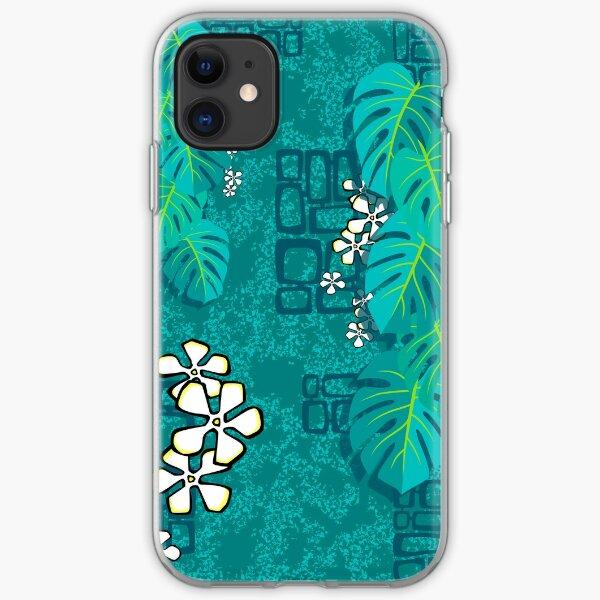 Tiki Garden Wall - aqua iPhone Soft Case