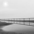 Jacob Riis Promenade Fence Reflection On A Foggy Morning   Breezy Point, New York by © Sophie W. Smith