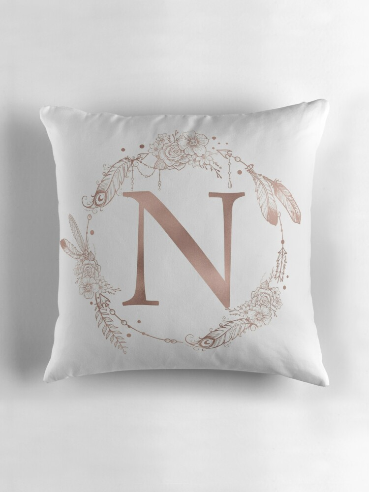u0026quot letter n rose gold pink initial monogram u0026quot  throw pillows by naturemagick