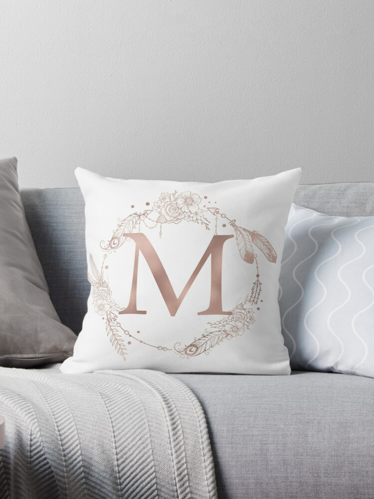 Letter M Rose Gold Pink Initial Monogram by naturemagick