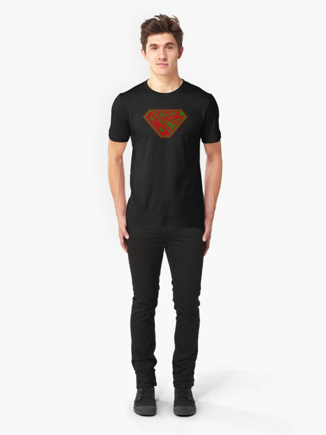 Alternate view of Black SuperEmpowered (Red and Green) Slim Fit T-Shirt