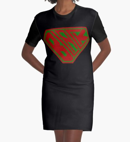 Black SuperEmpowered (Red and Green) Graphic T-Shirt Dress