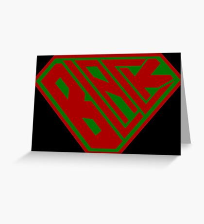 Black SuperEmpowered (Red and Green) Greeting Card
