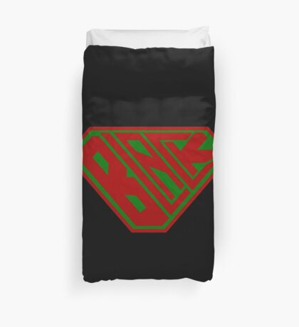Black SuperEmpowered (Red and Green) Duvet Cover