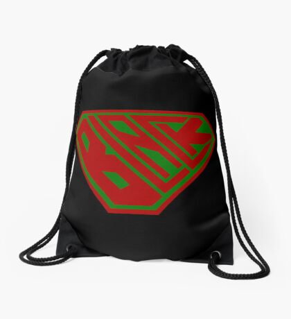 Black SuperEmpowered (Red and Green) Drawstring Bag