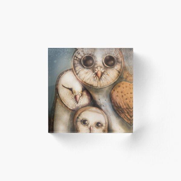 three wise owls Acrylic Block
