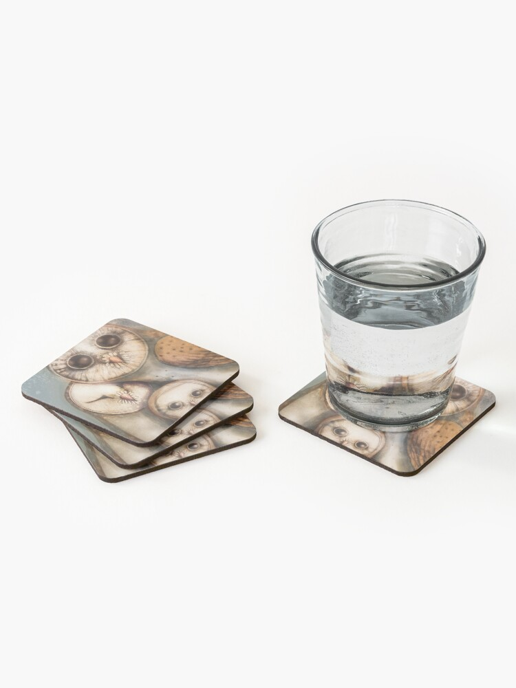 Alternate view of three wise owls Coasters (Set of 4)