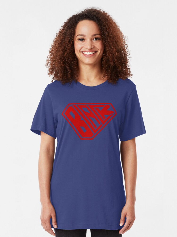 Alternate view of Black SuperEmpowered (Red) Slim Fit T-Shirt