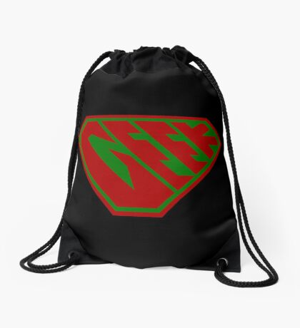 Geek SuperEmpowered (Red and Green) Drawstring Bag