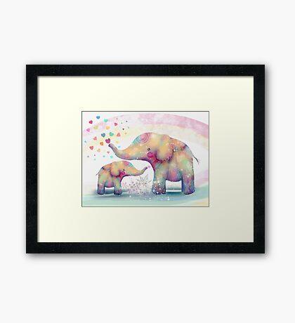 elephant affection Framed Print