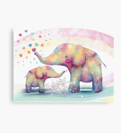 elephant affection Canvas Print