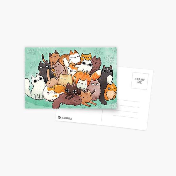 Haufen o Katze Postkarte