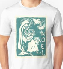"""Noel"" - Mary, Jesus, Christmas, Blue, Teal, Vintage, Card, Inspired, Baby T-Shirt"