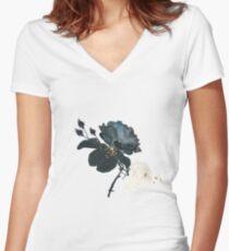 Night garden roses - dancing duo Women's Fitted V-Neck T-Shirt