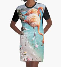 Flamingos on the Beach #redbubble #decor Graphic T-Shirt Dress