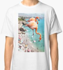 Flamingos on the Beach #redbubble #decor Classic T-Shirt