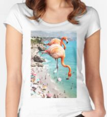 Flamingos on the Beach #redbubble #decor Women's Fitted Scoop T-Shirt
