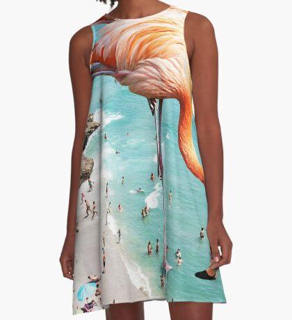 Flamingos on the Beach #redbubble #decor A-Line Dress