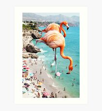Flamingos on the Beach #redbubble #decor Art Print