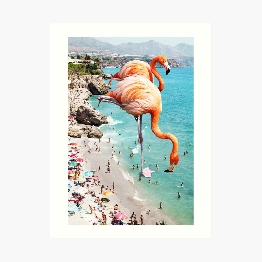 Flamingos am Strand #redbubble #decor Kunstdruck