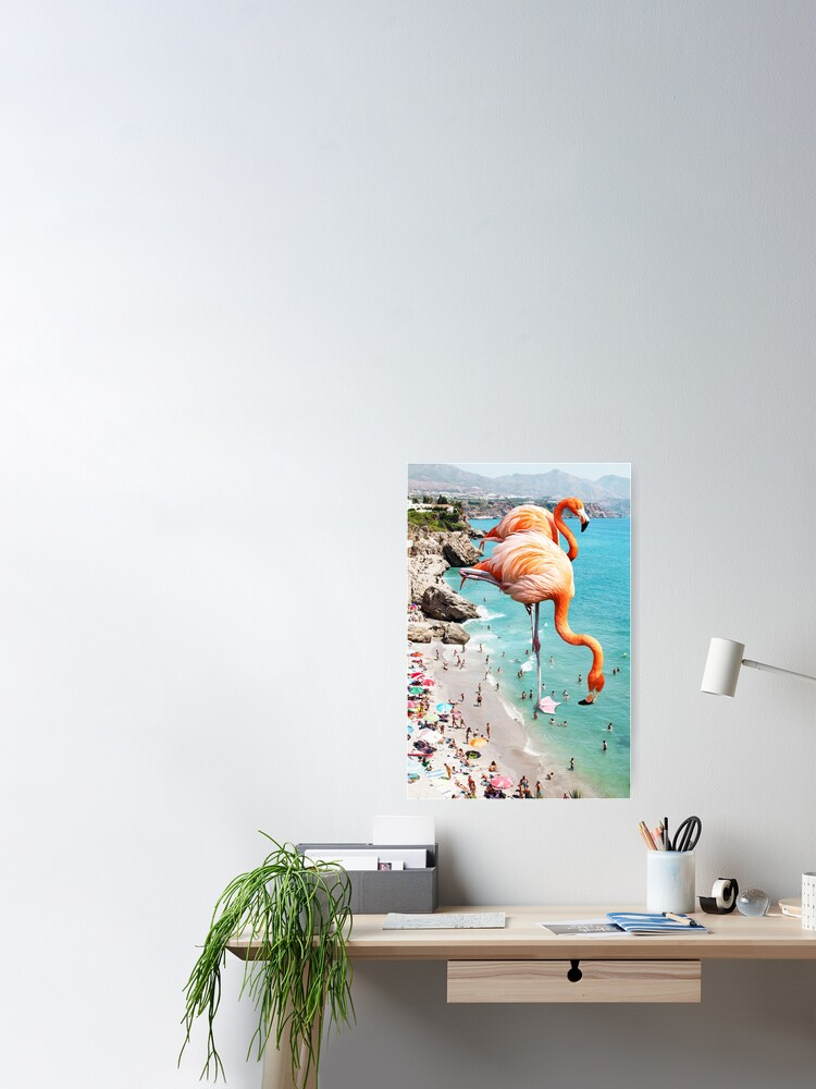 Alternate view of Flamingos on the Beach #redbubble #decor Poster