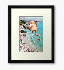 Flamingos on the Beach #redbubble #decor Framed Print