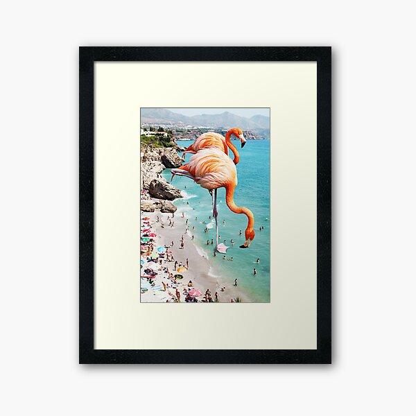Flamingos on the Beach #redbubble #decor Framed Art Print