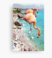 Flamingos on the Beach #redbubble #decor Canvas Print
