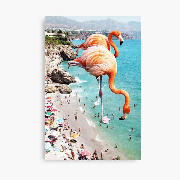 Flamingos on the Beach #redbubble #decor Canvas Print