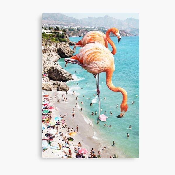 Flamingos on the Beach #redbubble #decor Metal Print