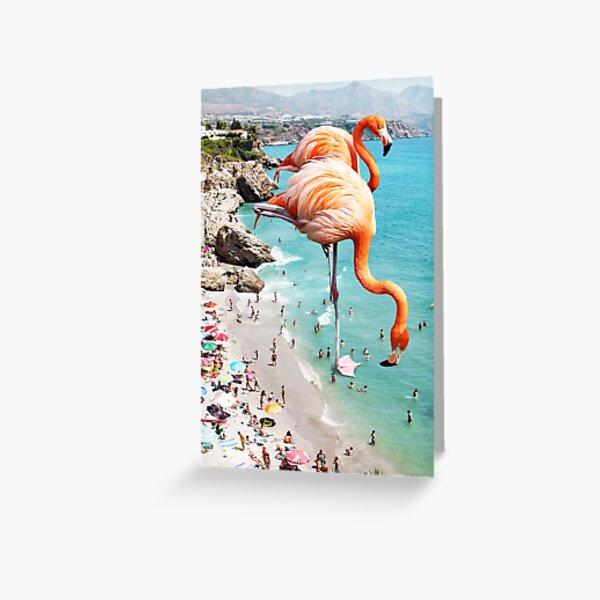 Flamingos on the Beach #redbubble #decor Greeting Card