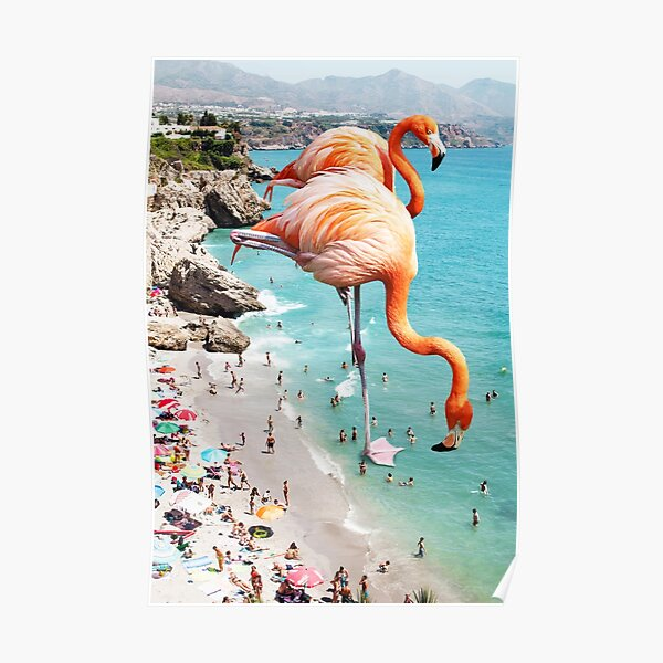 Flamingos on the Beach #redbubble #decor Poster