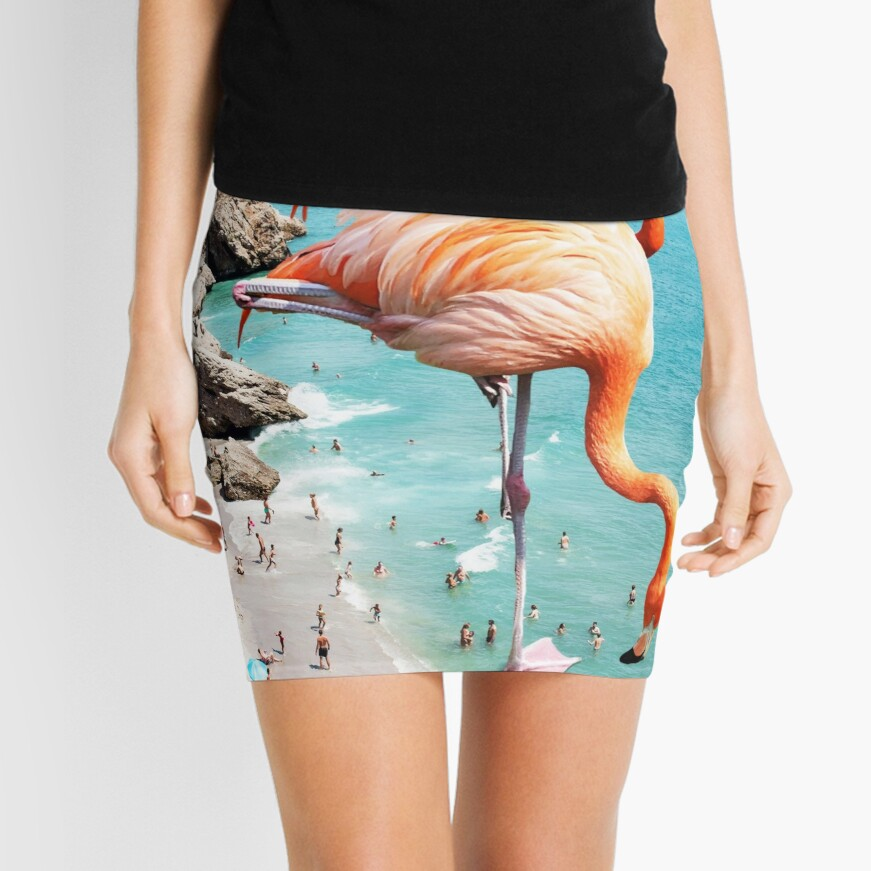 Flamingos on the Beach #redbubble #decor Mini Skirt