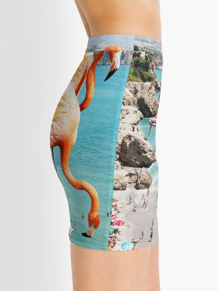 Alternate view of Flamingos on the Beach #redbubble #decor Mini Skirt