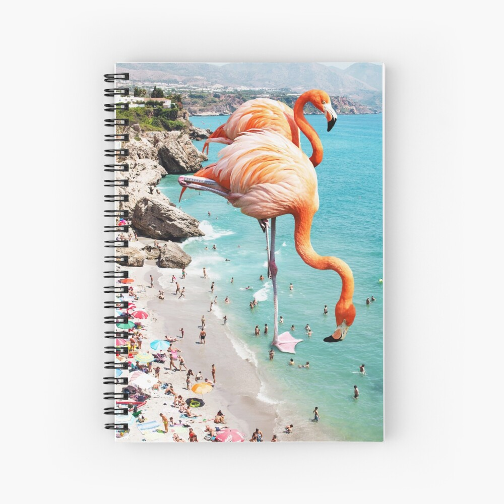 Flamingos on the Beach #redbubble #decor Spiral Notebook