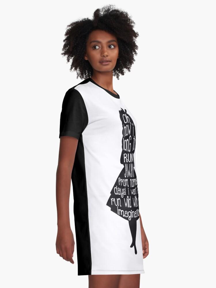 Alternative Ansicht von Alice im Wunderland-Zitat T-Shirt Kleid