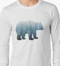 Misty Forest Bear - Turquoise Long Sleeve T-Shirt