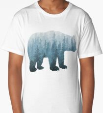 Misty Forest Bear - Turquoise Long T-Shirt