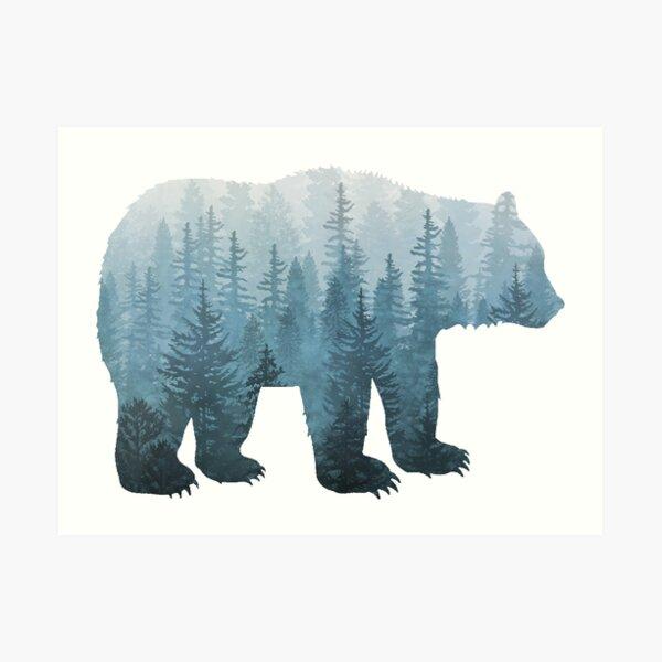 Misty Forest Bear - Turquoise Art Print