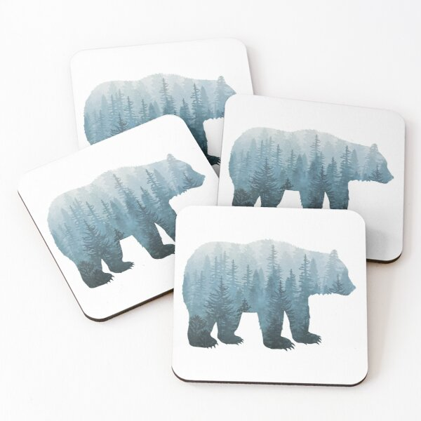Misty Forest Bear - Turquoise Coasters (Set of 4)
