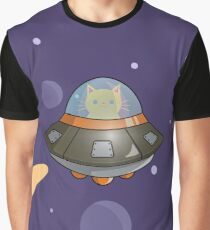 Cat in a UFO Graphic T-Shirt