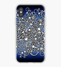 Tangled Up In Bicycles 2 - Blue Black fade iPhone Case